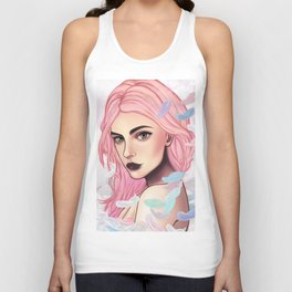 Pink Feather Unisex Tank Top