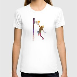 Young woman basketball player 04 in watercolor T-shirt