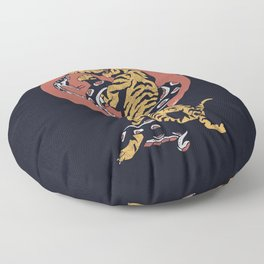 Classic Tattoo Snake vs Tiger Floor Pillow