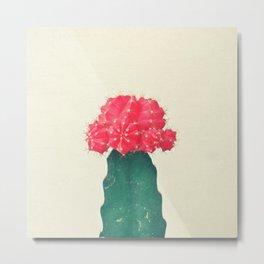 Red Plaid Cactus Metal Print