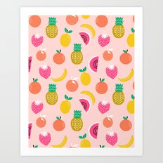 Fruit summer spring pattern print tropical island pineapple cherry strawberry banana fresh hot  Art Print