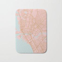 Pink and gold Manila map Bath Mat