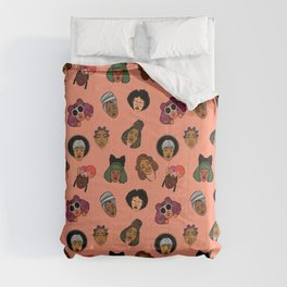 Black Hair Magic (Coral) Comforters