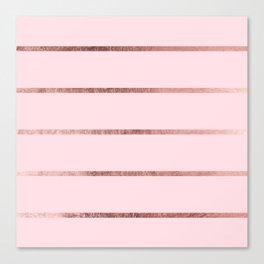 Elegant blush pink faux rose gold pastel color stripes Canvas Print