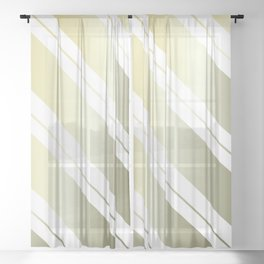 Classic Tilted Gold Gradient Stripes Sheer Curtain