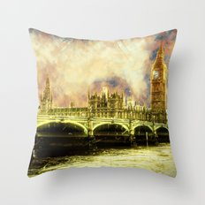 Abstract Golden Westminster Bridge in London Throw Pillow
