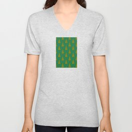 Green Christmas Trees Candy Gift Boxes Pattern Unisex V-Neck