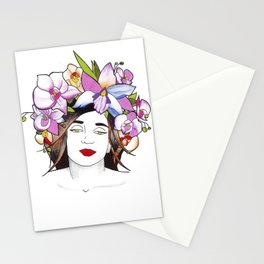 Woman in flowers II Stationery Cards