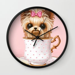 Yorkie In A Teacup Wall Clock