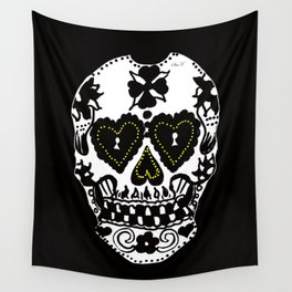 Sugar Skull - Black and White Wall Tapestry