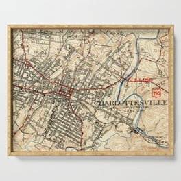 Vintage Map of Charlottesville Virginia (1949) Serving Tray