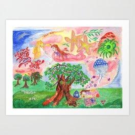 Medilludesign - Lucid dreams - flying in the sea Art Print