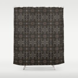 Curves & lotuses, black, brown and taupe Shower Curtain