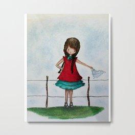 The little farm girl Metal Print