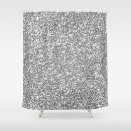 Silver Gray Glitter Shower Curtain