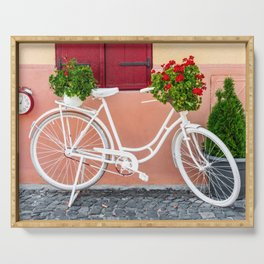 White Bike, Flower Basket, Old City Street, Art Print, Urban Travel Serving Tray