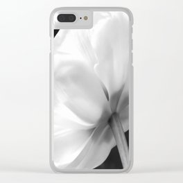 Close-up of white tulip in black background Clear iPhone Case