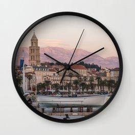 Pink and Purple Sunset on Split Croatia Waterfront Riva Wall Clock
