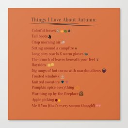 Things I Love About Autumn Canvas Print