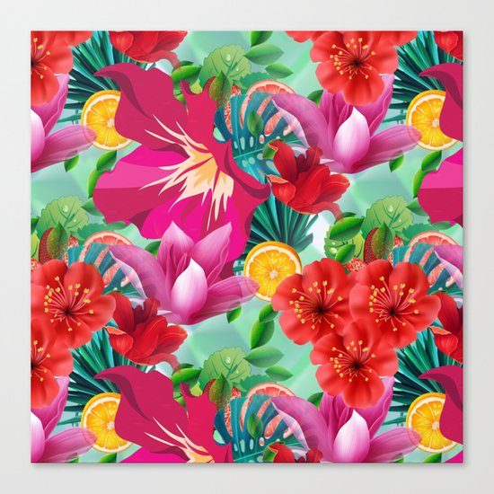Tropical Summer Flower And Fruit Pattern Canvas Print
