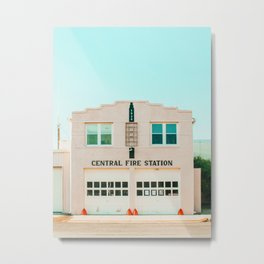 Pink fire station, Marfa, West Texas Metal Print