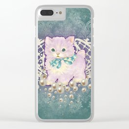 Kitschy Pearl Kitten Clear iPhone Case