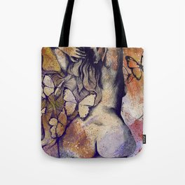 Sugar Coated Sour: Autumn (nude curvy pin up with butterflies) Tote Bag