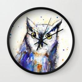 Owl, watercolor Wall Clock