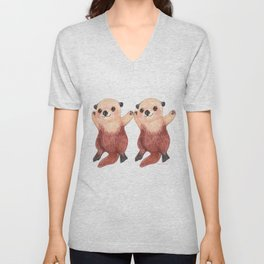Otterly Adorable Otter Unisex V-Neck