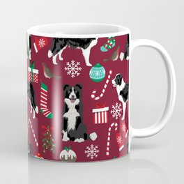 Border Collie christmas stockings presents holiday candy canes dog breed pattern Coffee Mug