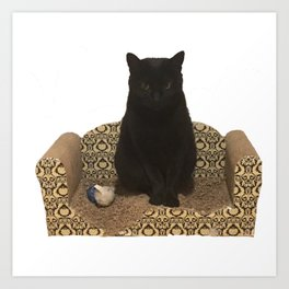The Queen on her Couch, Edie the Manx, Black Cat Photograph Art Print