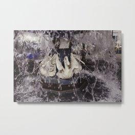 Spitting Swans Metal Print