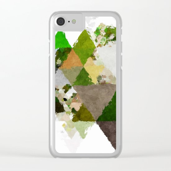 Spring Triangles - Fresh green and white triangle pattern Clear iPhone Case