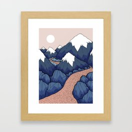 The twisting river in the mountains Framed Art Print