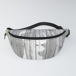 Hipster vintage white deer head on gray wood Fanny Pack