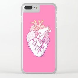 Designer Heart Pink Clear iPhone Case