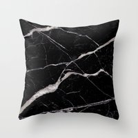 geology Throw Pillows featuring Black Marble by Santo Sagese