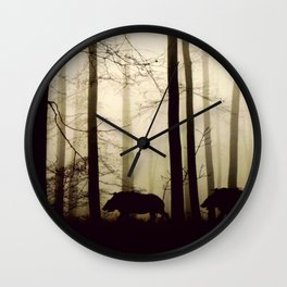 Night in the forest Wall Clock
