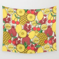 fruit Wall Tapestries featuring Fruit by Valendji