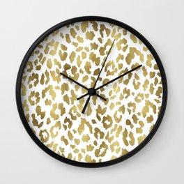 Cheetah Spots (White And Gold) Wall Clock