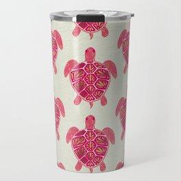 Sea Turtle in Pink & Gold Travel Mug