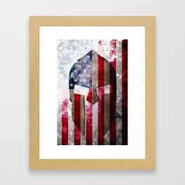 Molon Labe - Spartan Helmet Across An American Flag On Distressed Metal Sheet Framed Art Print