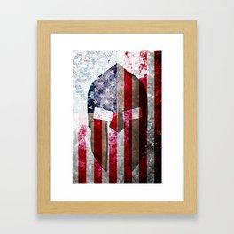 Molon Labe - Spartan Helmet Across An American Flag On Distressed Metal Sheet Framed Art Print