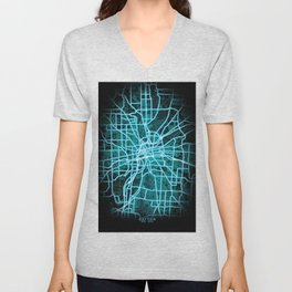 Dayton, OH, USA, Blue, White, Neon, Glow, City, Map Unisex V-Neck