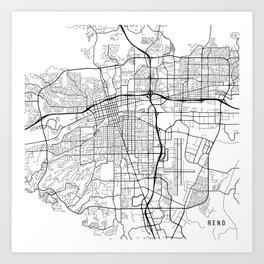Reno Map, USA - Black and White Art Print