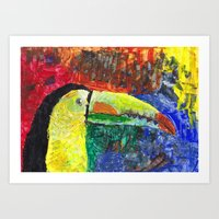 toucan Art Prints featuring Toucan by Catherine Johnson