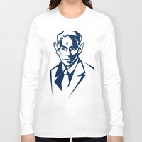 kafka Long Sleeve T-shirts featuring Kafka portrait in Navy Blue & Pastel Green by aygeartist