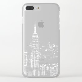 Contemporary Elegant Silver City Skyline Design Clear iPhone Case