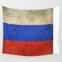 Old and Worn Distressed Vintage Flag of Russia Wall Tapestry