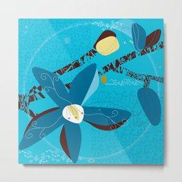 Blue Saucer Magnolia Metal Print